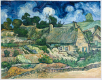 Thatched Cottages at Cordeville Van Gogh reproduction