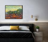 Olive Grove: Orange Sky Van Gogh reproduction framed