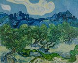 Olive Trees in a Mountainous Landscape Van Gogh reproduction