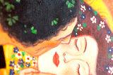 De Kus Klimt reproductie, geschilderd in olieverf op doek_