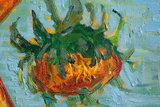 Vase With Twelve Sunflowers Van Gogh reproduction detail