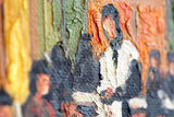 replica Cafe Terrace at Night Oil Painting detail