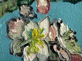 Amandelbloesem mini schilderij, geschilderd in olieverf op doek_