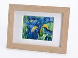 Irissen mini schilderij, geschilderd in olieverf op doek_