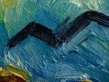 Korenveld met Kraaien mini schilderij, geschilderd in olieverf op doek_