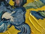 Vaas met Irissen geel mini schilderij, geschilderd in olieverf op doek_