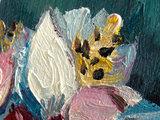 Amandeltak mini schilderij, geschilderd in olieverf op doek_