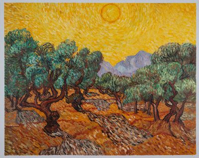Olijfbomen met Gele Hemel en Zon Van Gogh reproductie, 1889