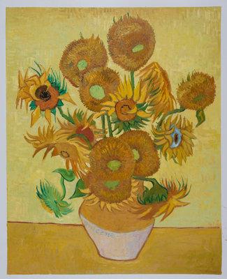 Vaas met vijftien Zonnebloemen Van Gogh reproductie, 1889