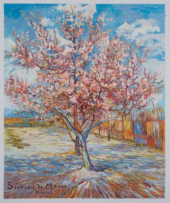 Roze Perzikboom in Bloei Van Gogh reproductie, geschilderd in olieverf op doek