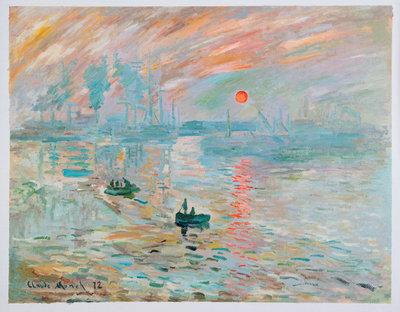 Impressie, Zonsopgang Monet reproductie, geschilderd in olieverf op doek