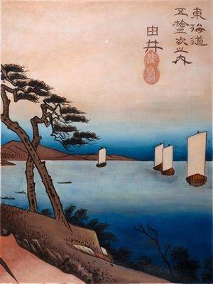 Zeilboten Hiroshige reproductie, geschilderd in olieverf op doek