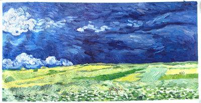 Korenveld onder Onweerslucht Van Gogh reproductie, 1890