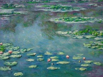 Waterlelies Monet Reproductie, geschilderd in olieverf op doek