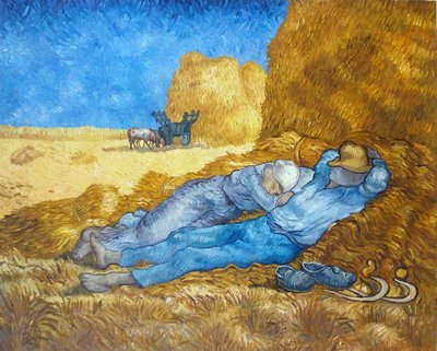 Middagrust Van Gogh reproductie, 1889