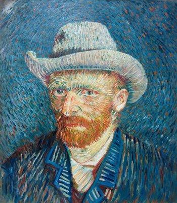 Zelfportret met Grijze Vilthoed Van Gogh reproductie, 1887