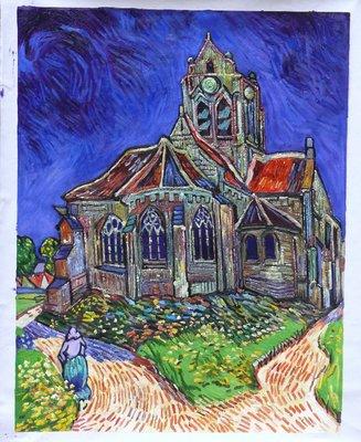 De Kerk van Auvers Van Gogh reproductie, 1890
