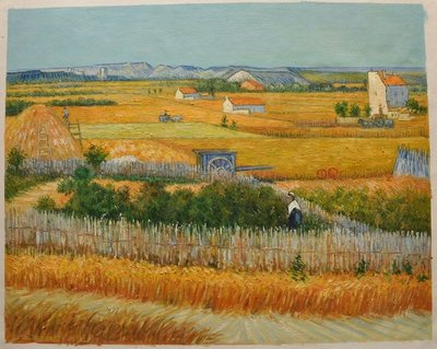 De Oogst bij La Crau Van Gogh reproductie, 1888