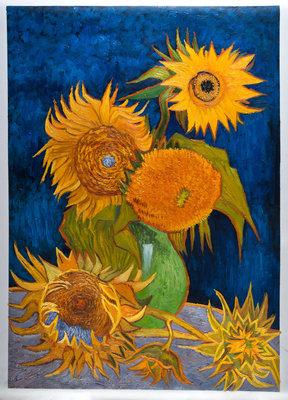 Vaas met Vijf Zonnebloemen Van Gogh reproductie, 1888