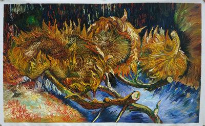 Vier afgesneden Zonnebloemen Van Gogh reproductie, 1887