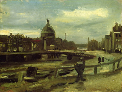Stadsgezicht in Amsterdam Van Gogh reproductie, 1885