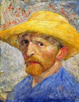 Zelfportret met Strohoed Van Gogh reproductie, 1887