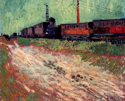 Treinwagons Van Gogh reproductie, 1888