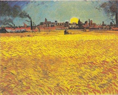 Zonsondergang Korenvelden bij Arles Van Gogh reproductie, 1888