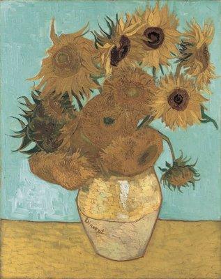 Stilleven: Vaas met Twaalf Zonnebloemen Van Gogh reproductie, 1888