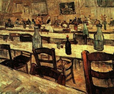 Interieur van een Restaurant Van Gogh reproductie, 1888