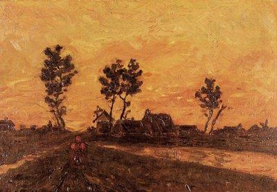 Landschap bij Zonsondergang Van Gogh Reproductie, 1885
