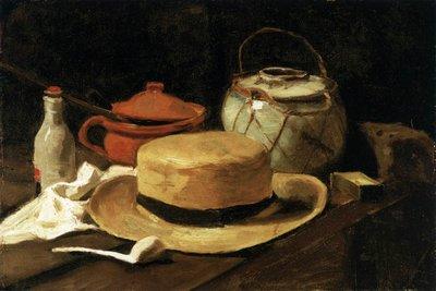 Stilleven met Gele Strohoed Van Gogh reproductie, 1881