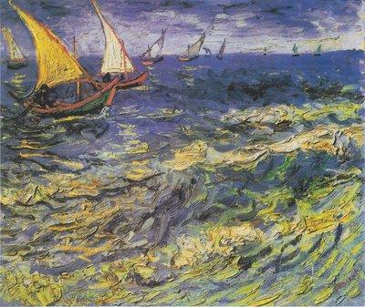 Zee bij Saintes-Maries Van Gogh Reproductie, 1888