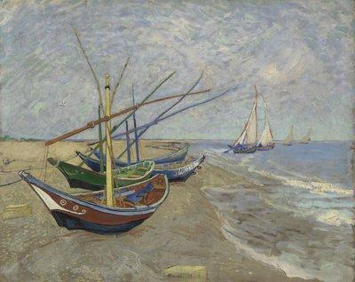 Vissersboten op het Strand Van Gogh reproductie, 1888