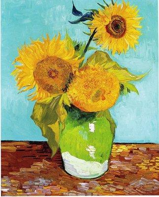 Drie Zonnebloemen in een Vaas Van Gogh reproductie, 1888