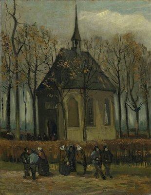Het Uitgaan van de Hervormde Kerk in Nuenen reproductie, 1884 en 1885
