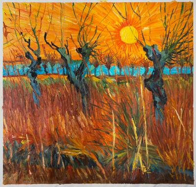 Knotwilgen bij ondergaande Zon Van Gogh reproductie, 1888