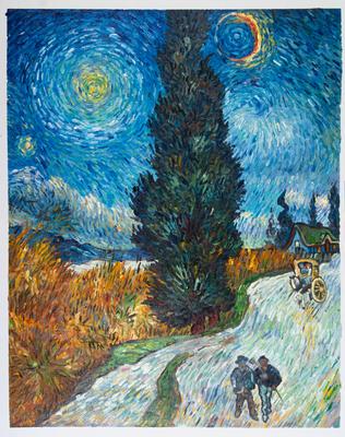 Weg met Cipres en Ster Van Gogh reproductie, 1890