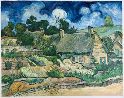 Cottages met Rieten Daken in Cordeville Van Gogh reproductie, 1890