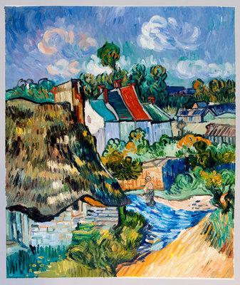 Huizen in Auvers Van Gogh reproductie 1890