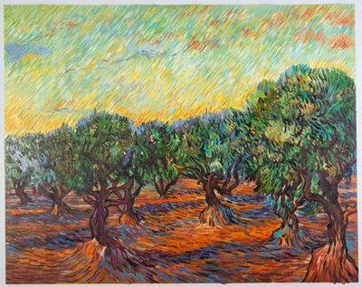 Olijfgaard met Oranje Hemel Van Gogh reproductie, 1889