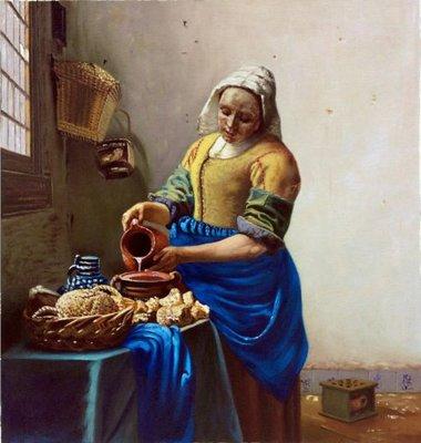 Het Melkmeisje Vermeer Reproductie, geschilderd in olieverf op doek