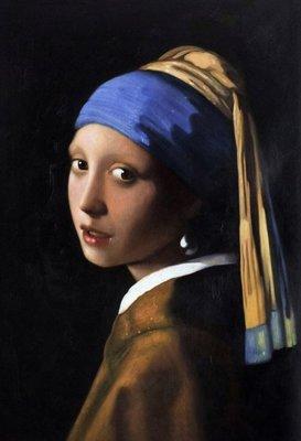 Meisje met de Parel Vermeer reproductie, geschilderd in olieverf op doek