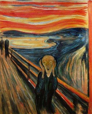 De Schreeuw Munch reproductie, geschilderd in olieverf op doek