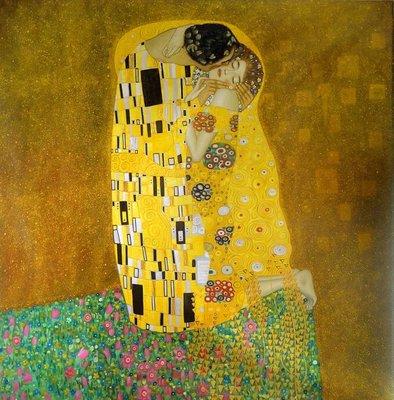 De Kus Klimt reproductie, geschilderd in olieverf op doek
