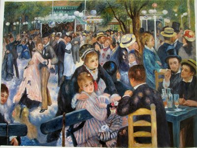 Dance at the Moulin de la Galette Renoir reproductie, geschilderd in olieverf op doek
