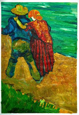 Twee geliefden Van Gogh reproductie, geschilderd in olieverf op doek