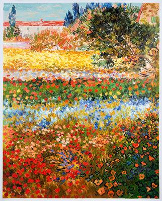 Bloementuin Van Gogh reproductie, geschilderd in olieverf op doek
