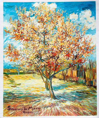 Perzikboom in Bloei, Van Gogh reproductie, geschilderd in olieverf op doek