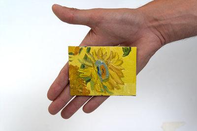 Zonnebloemen mini schilderij, geschilderd in olieverf op doek